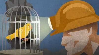 Canary bird in a cage with a coal miner