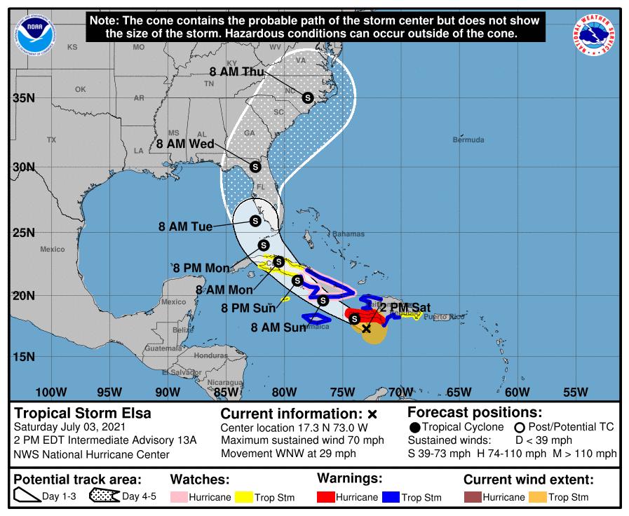 tropical storm elsa's path